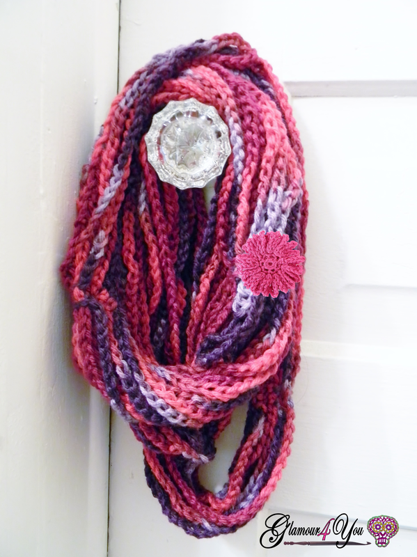 Free Crochet Patterns Using Ribbon Yarn : Glamour Infinity Necklace Scarf - Glamour4You